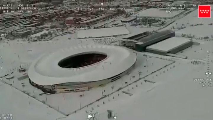 La gran nevada en Madrid, a vista de pájaro