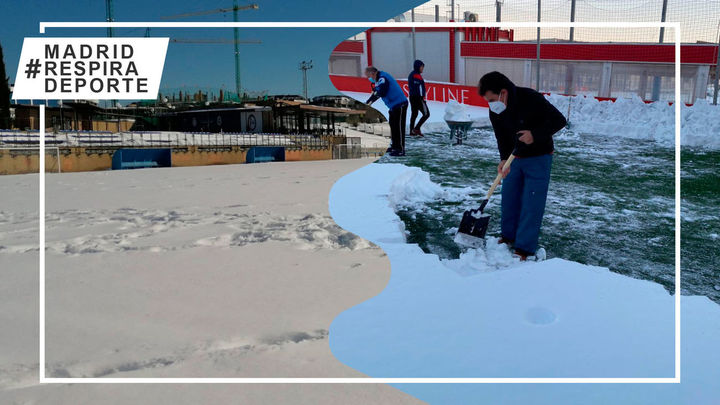 UD Sanse y Rayo Majadahonda piden ayuda para retirar la nieve de sus estadios