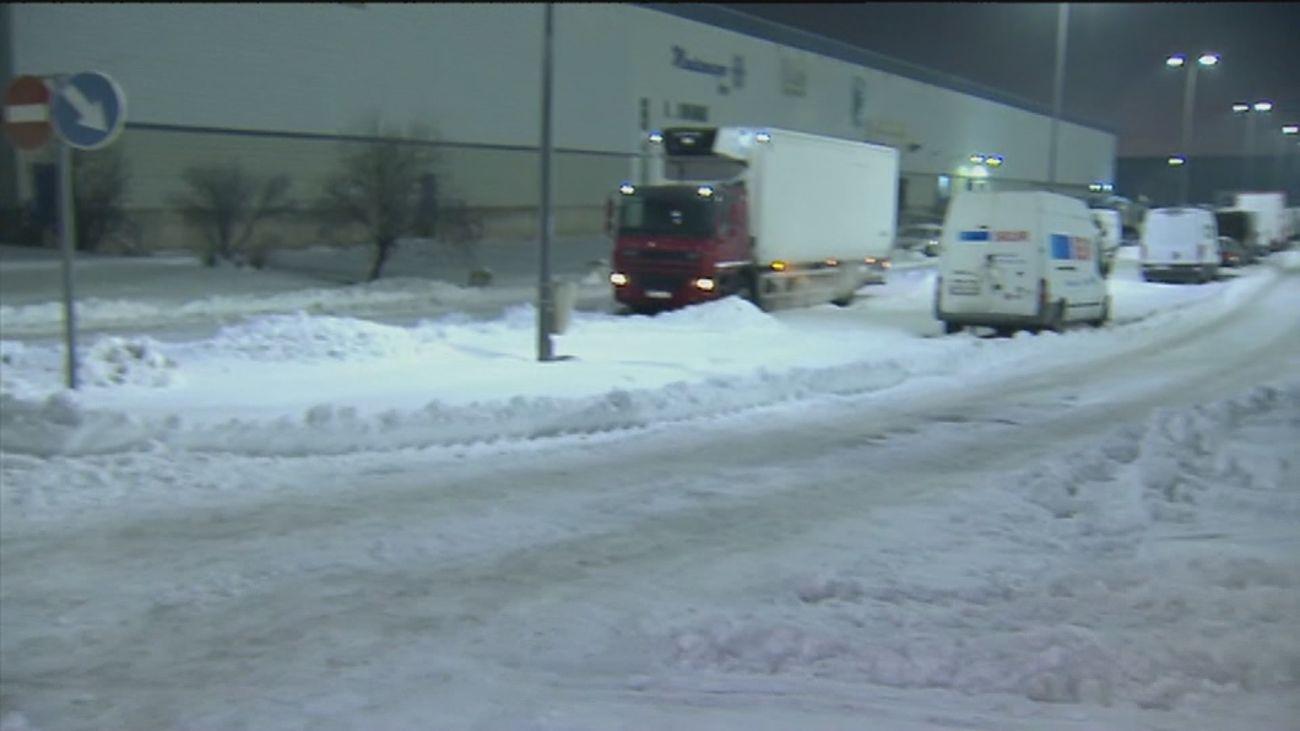 Bloqueado por la nieve el Centro de Logística Alimentaria de Getafe