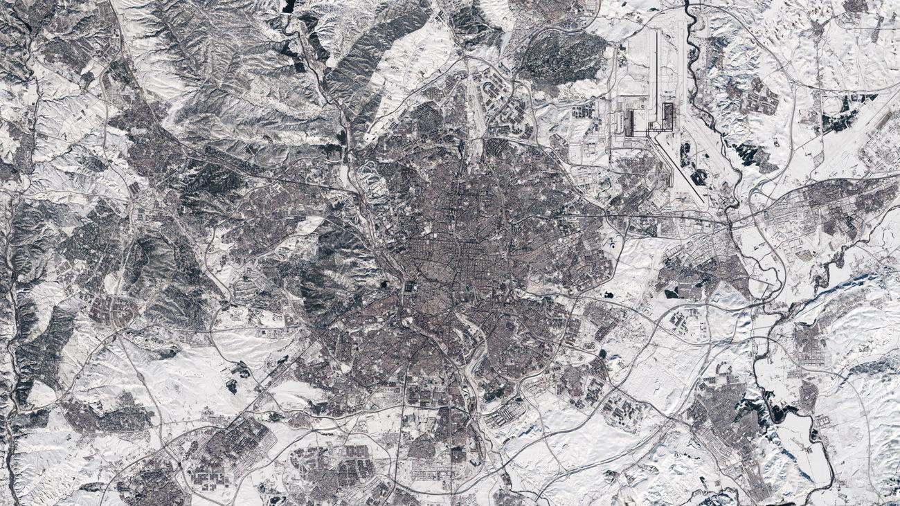 Imagen de Madrid desde el espacio, tomada el 11 de enero