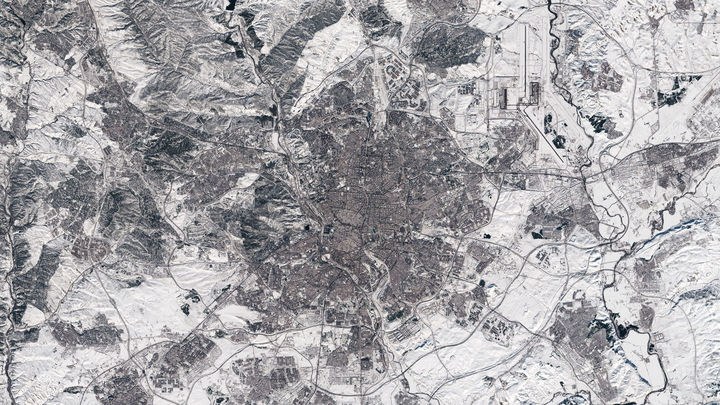 La gran nevada de Madrid, vista desde el espacio