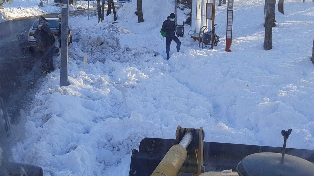 Imagen de una de las calles de Pinto tras la gran nevada