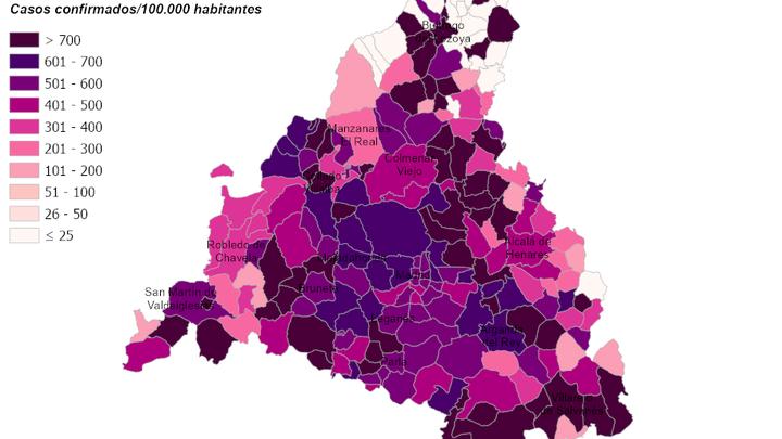 El mapa que preocupa a Madrid: hasta 75 municipios tienen disparada su tasa de contagios de coronavirus