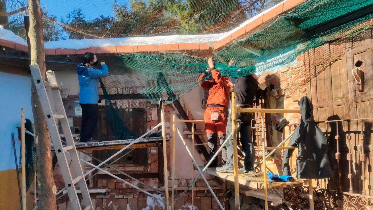 La borrasca Filomena provoca graves daños el el centro de recuperación de aves de GREFA