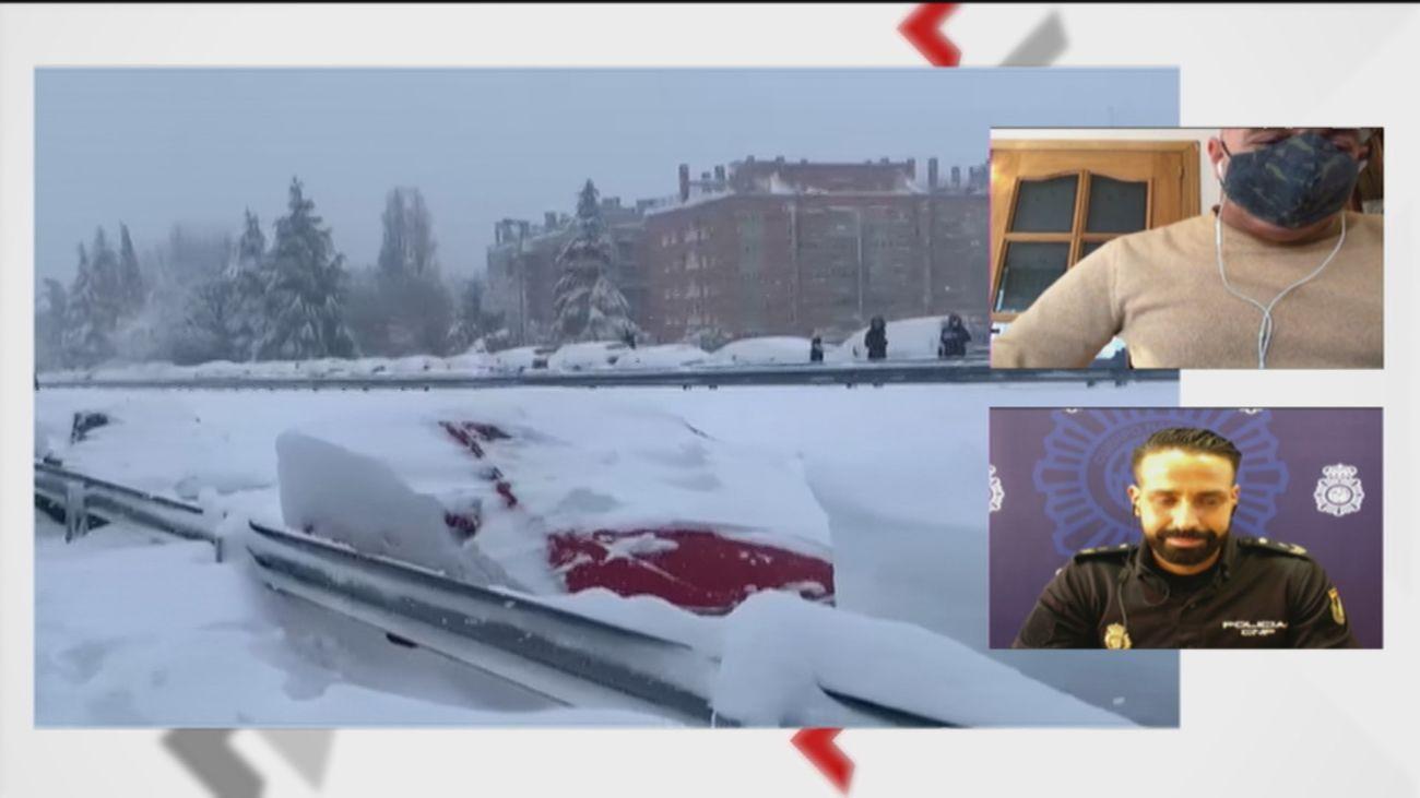La historia de Daniel y Carlos, un rescate en una M-30 nevada
