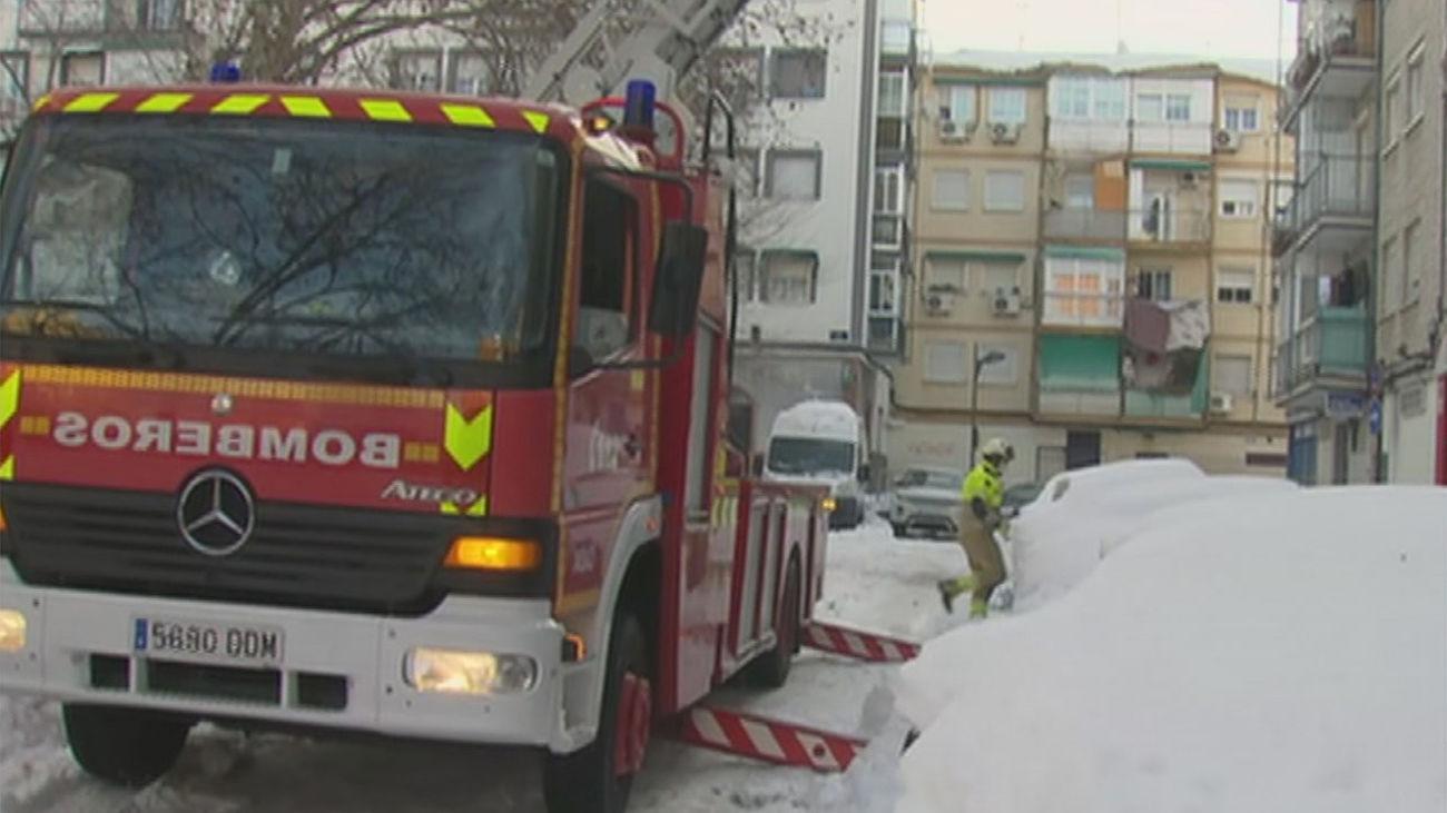 Los bomberos de Alcorcón trabajan sin descanso en la retirada de árboles y cornisas