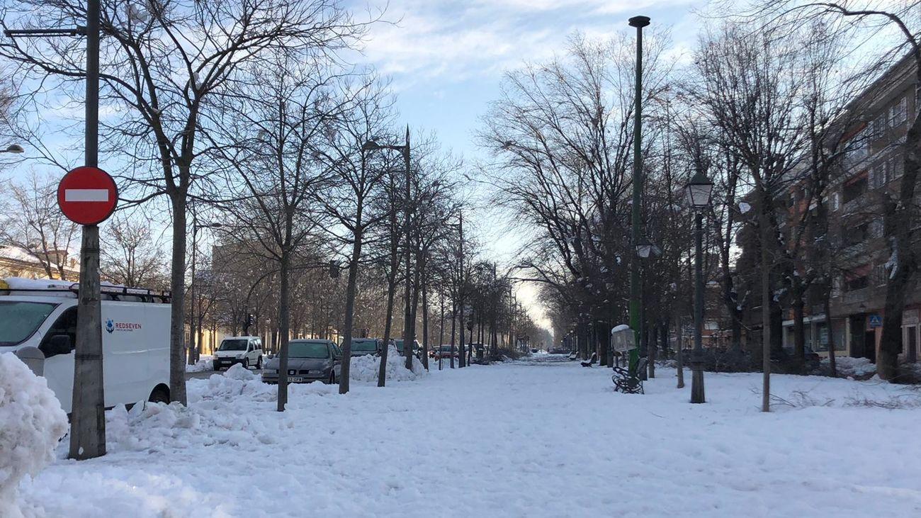 Nieve acumulada en las calles de Aranjuez