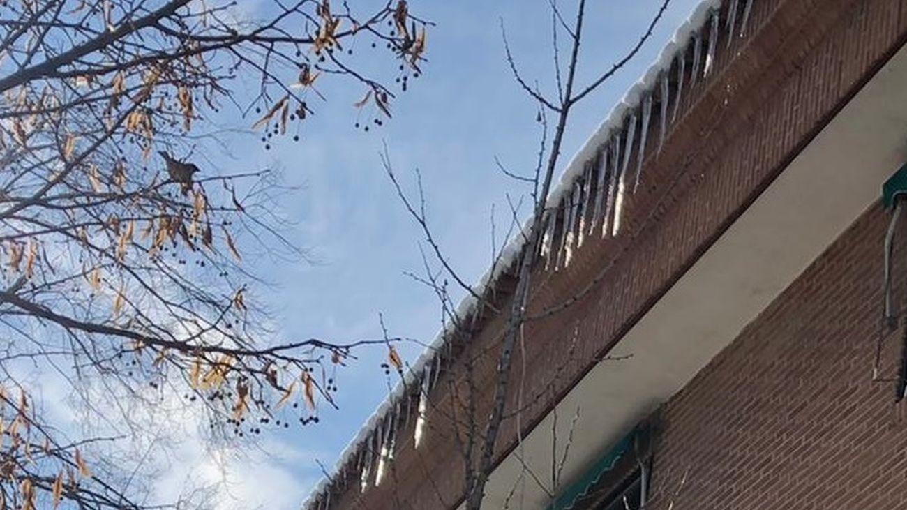 Los carámbanos surgidos por las heladas en Aranjuez