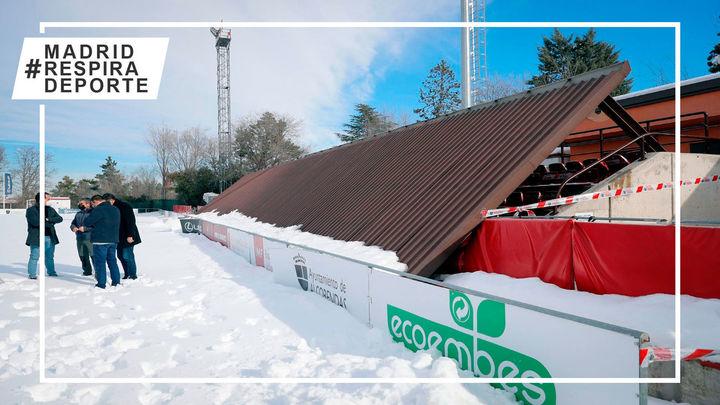 Se derrumba el techo de las gradas del campo de rugby 'Las Terrazas' de Alcobendas