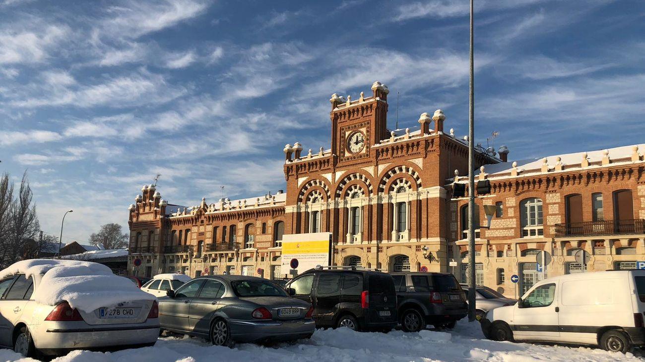 El parking helado de la estación de Cercanías de Aranjuez