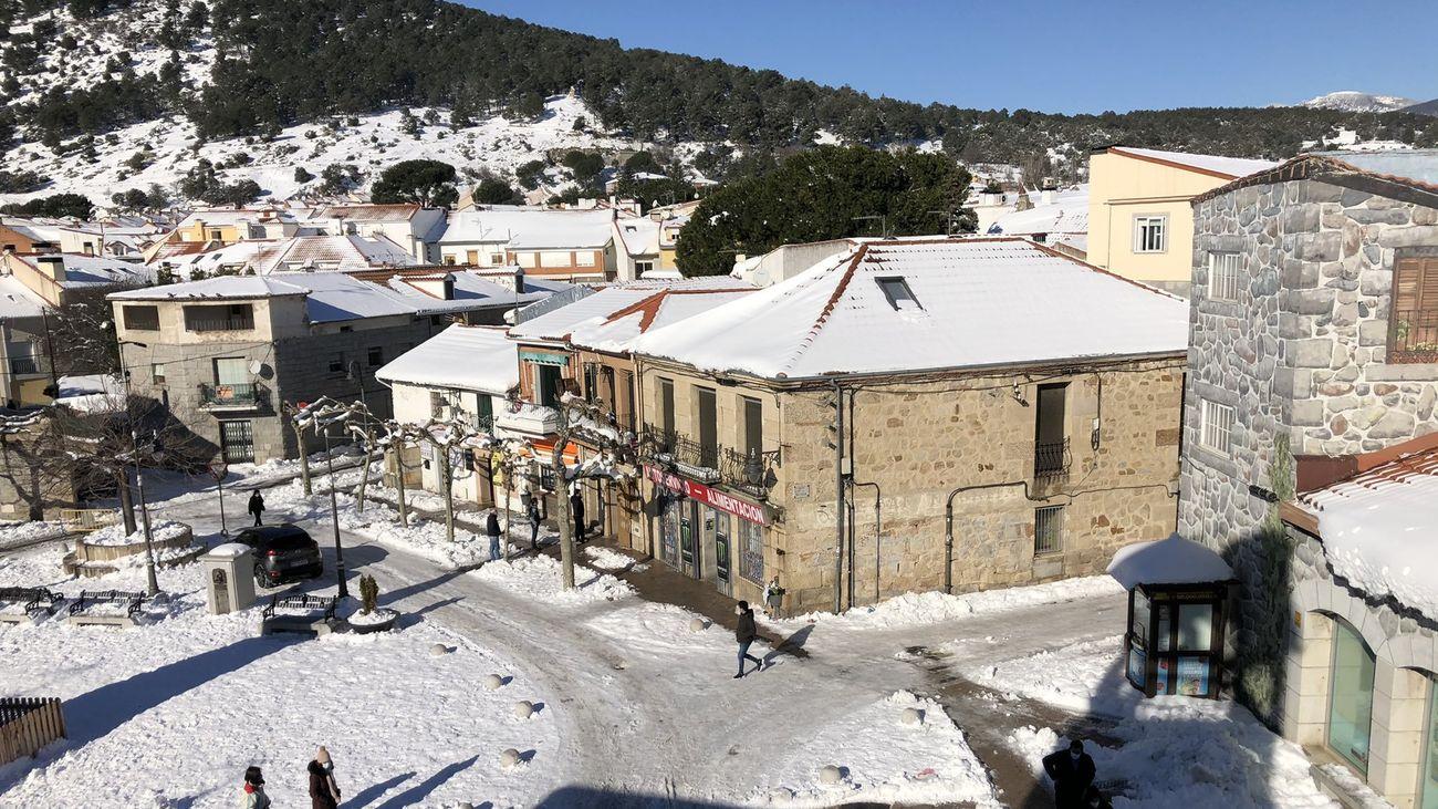 Moralzarzal nevado tras el paso de Filomena