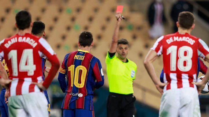 Sólo dos partidos de sanción para Messi por su expulsión en la Supercopa