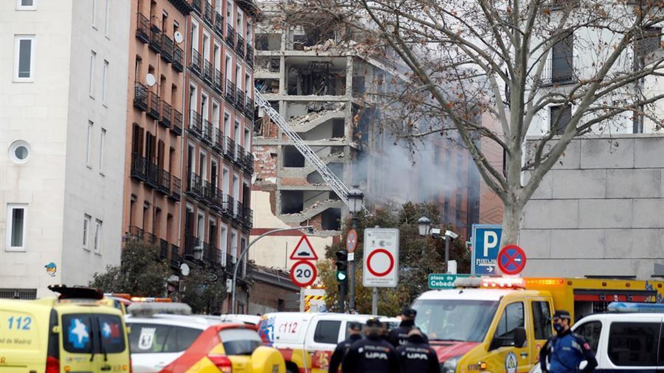 Imágenes de la explosión en la calle Toledo de Madrid