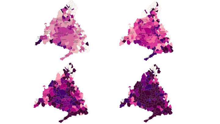 Así ha evolucionado el mapa del coronavirus en Madrid, antes y después de la Navidad