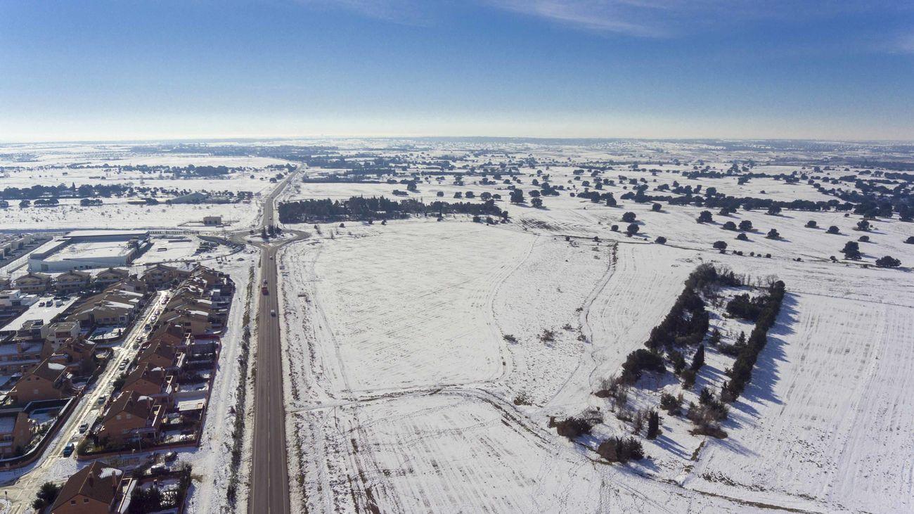 Vista aérea de la nevada en Villanueva de la Cañada