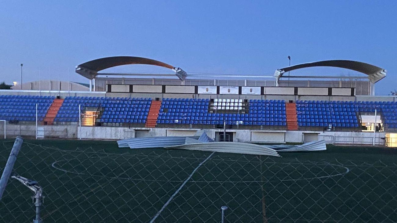 Estado en el que ha quedao el campo de fútbol de Alalpardo