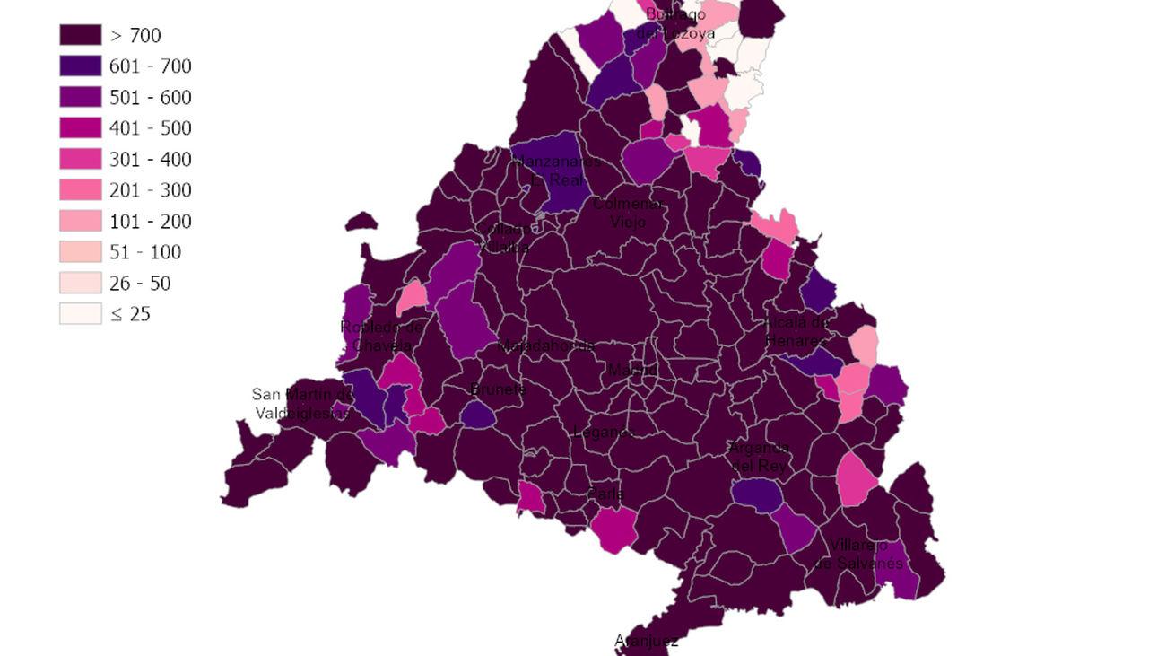 Mapa de incidencia del coronavirus en Madrid a 26 de enero