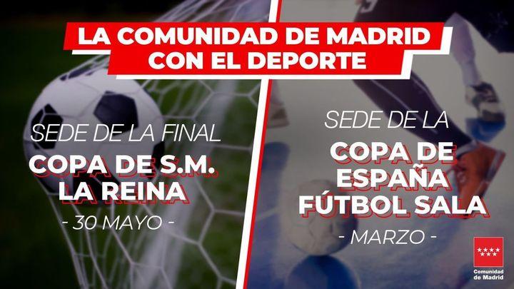 Madrid, sede de la Copa de la Reina de fútbol y Copa de España de fútbol sala