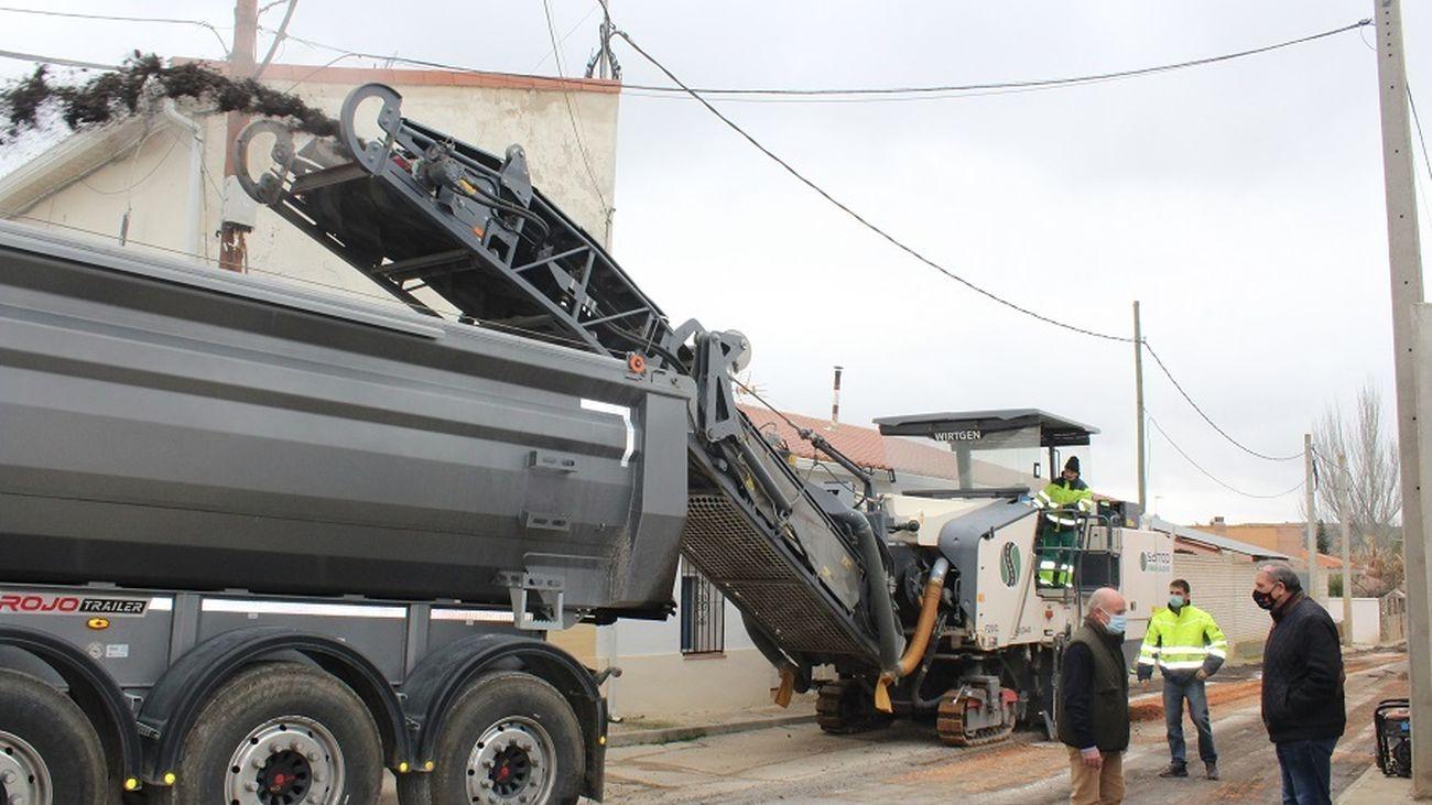 Fresado de las calles de Morata de Tajuña previo al asfaltado