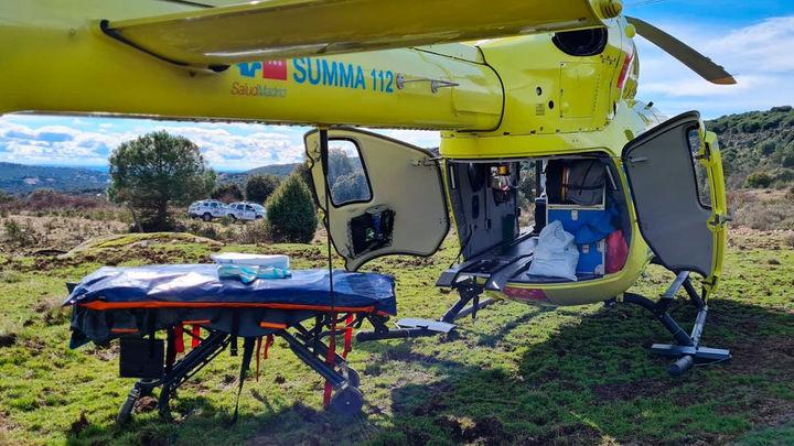 Dos ciclistas evacuados en helicóptero en Chapineria y Morazarzal tras ser atendidos de urgencia