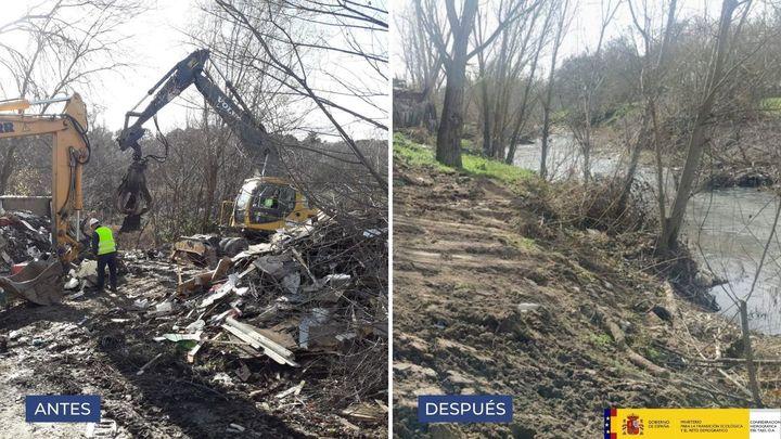 Más de 100 toneladas de residuos ya han sido retiradas del río Guadarrama