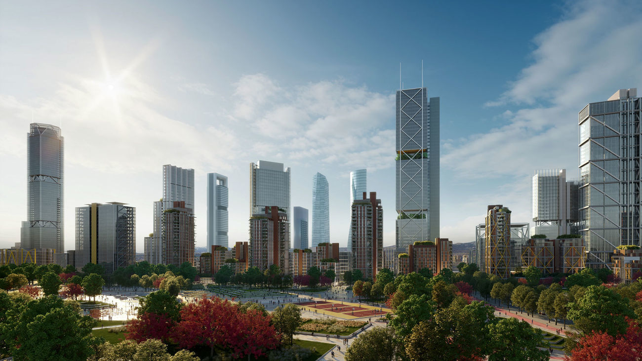 Ilustración sobre el diseño final de Madrid Nuevo Norte
