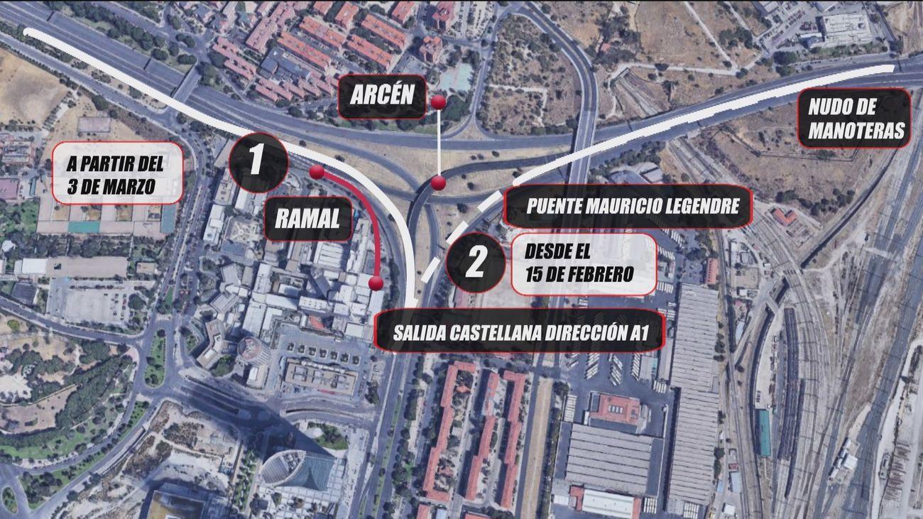 A partir del lunes, obras en el Nudo Norte en sentido salida de la Castellana