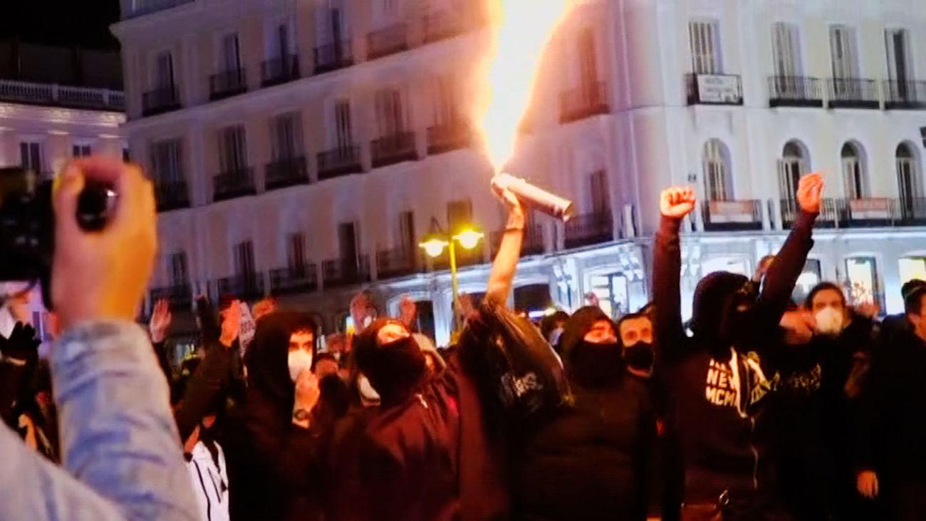 Vandalismo y saqueo en tiendas del centro de Madrid tras la concentración de apoyo a Pablo Hasel