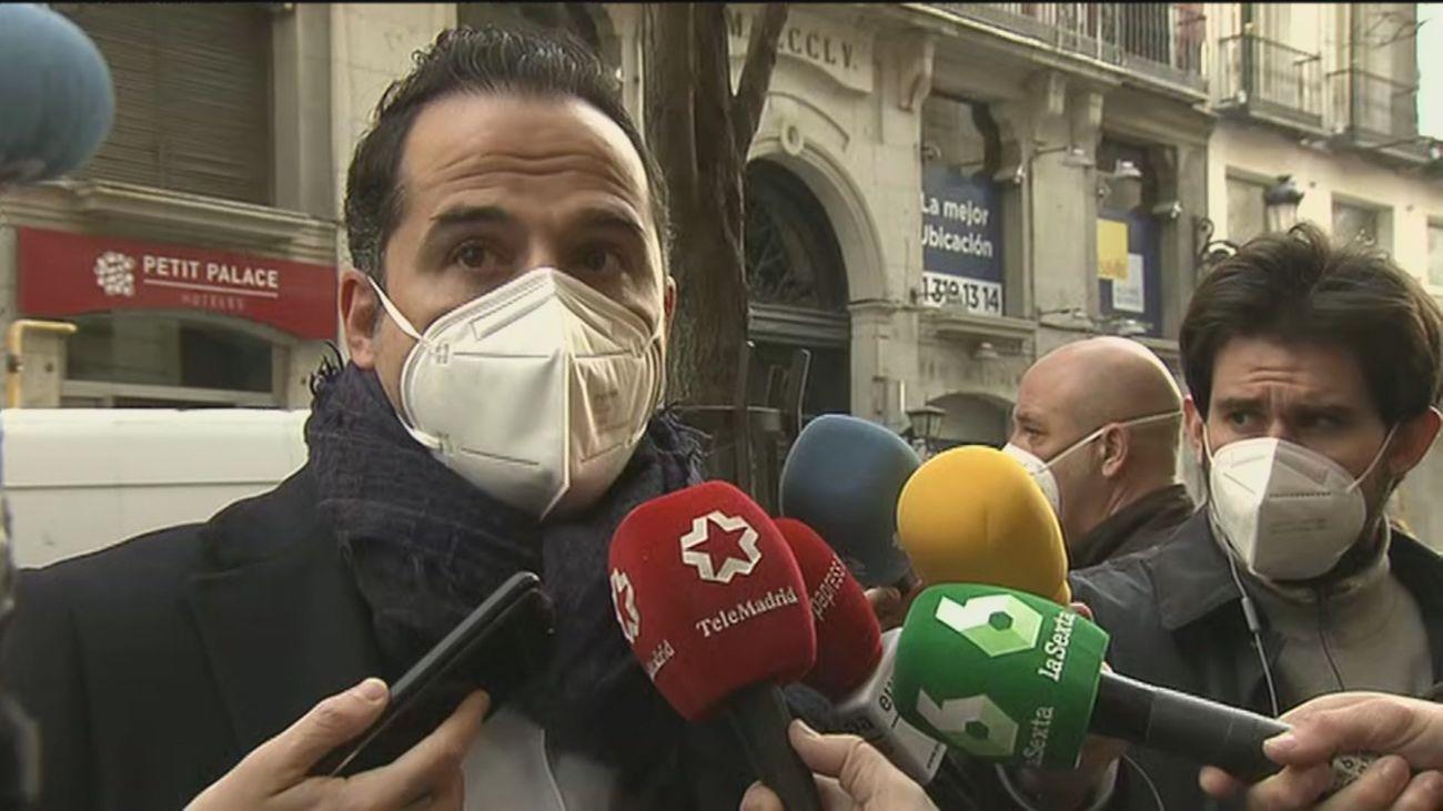 """Aguado expresa una """"protesta política al Gobierno de Sánchez porque no todo vale y están alentando la violencia"""""""