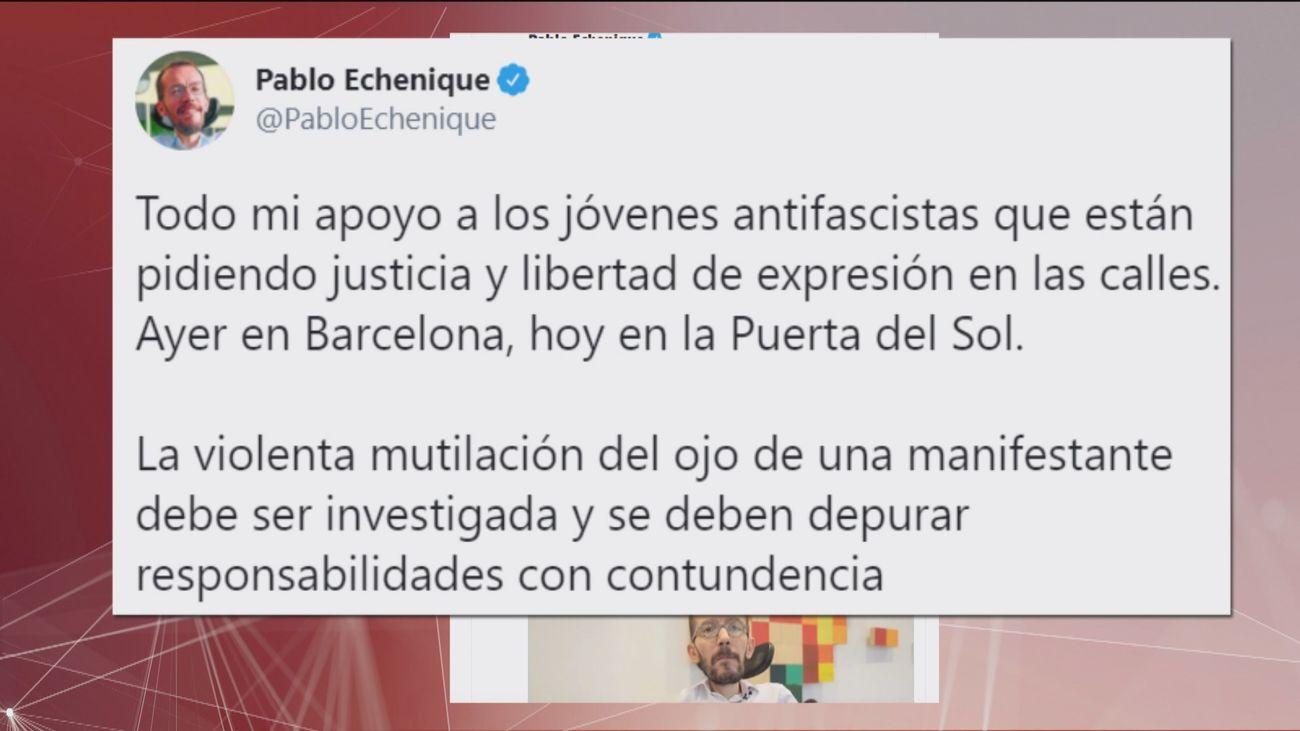 Podemos evita condenar los incidentes violentos en Madrid y Barcelona y cuestiona la actuación policial