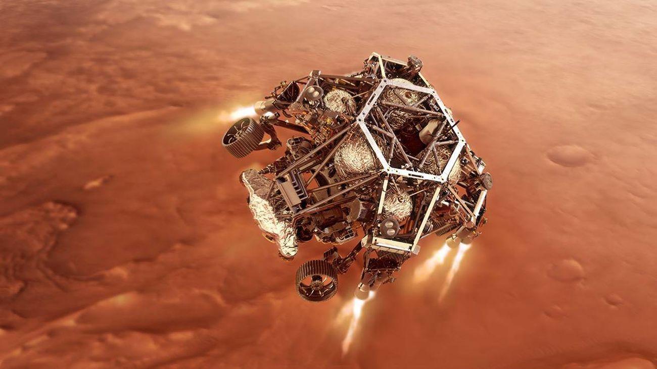 Recreación del aterrizaje de Perseverance en Marte