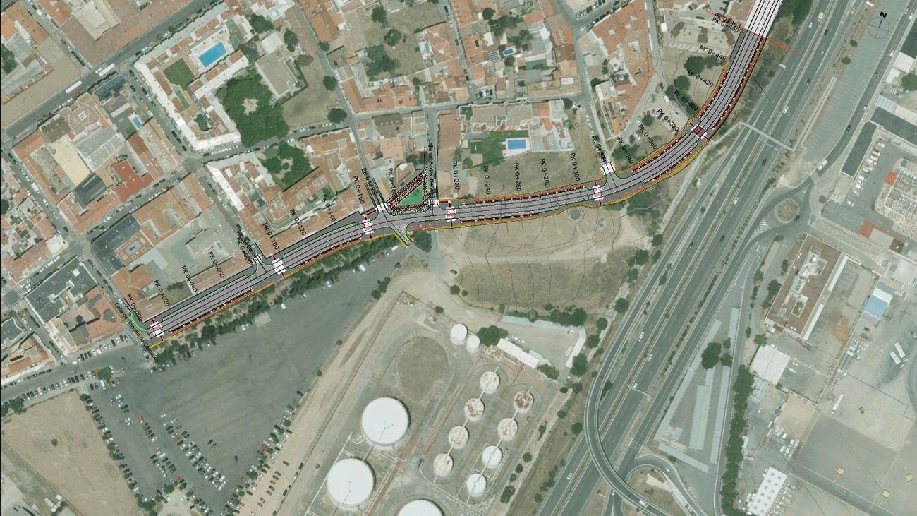 Mapa de la nueva circunvalación del casco histórico de Barajas