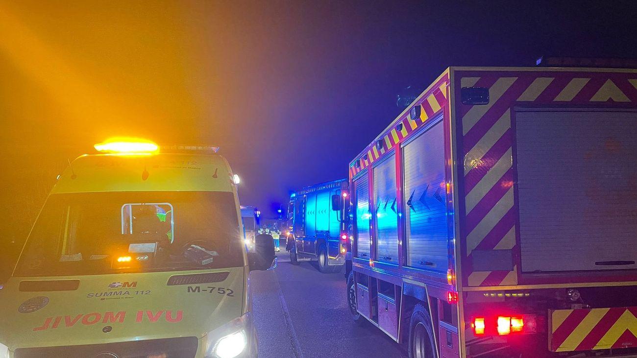 Accidente de coche en la M-111, a la altura de San Sebastián de los Reyes