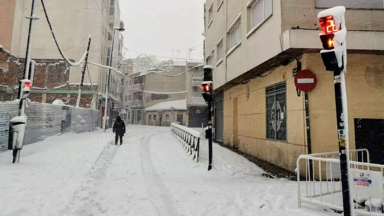 Getafe en plena nevada de la borrasca Filomena