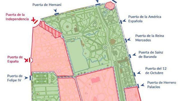 El mapa para conocer los accesos al Retiro y qué zonas están ya abiertas
