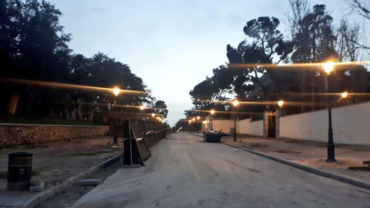 Uno de los accesos a El Retiro sin árboles ya en las aceras