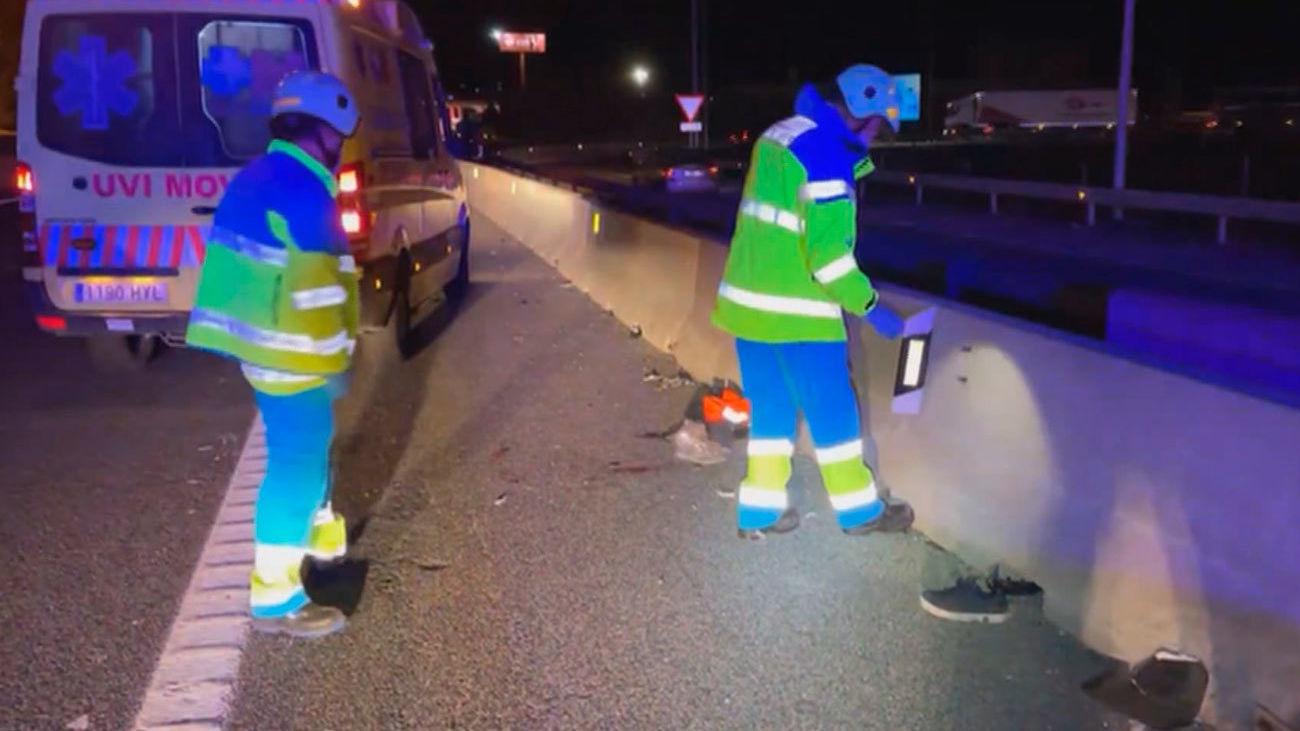 Herido muy grave tras golpear un camión su vehículo averiado en la A-4 en Aranjuez