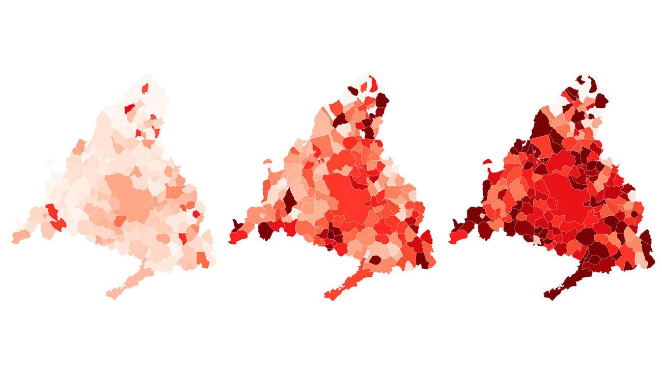 Evolución de los tres picos de la pandemia en los municipios de Madrid