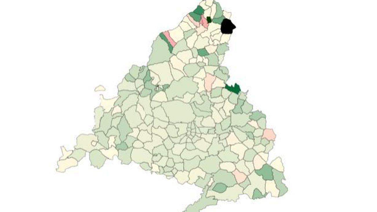 Mapa que refleja los descensos y subidas de la tasa de coronavirus en Madrid, a 23 de febrero