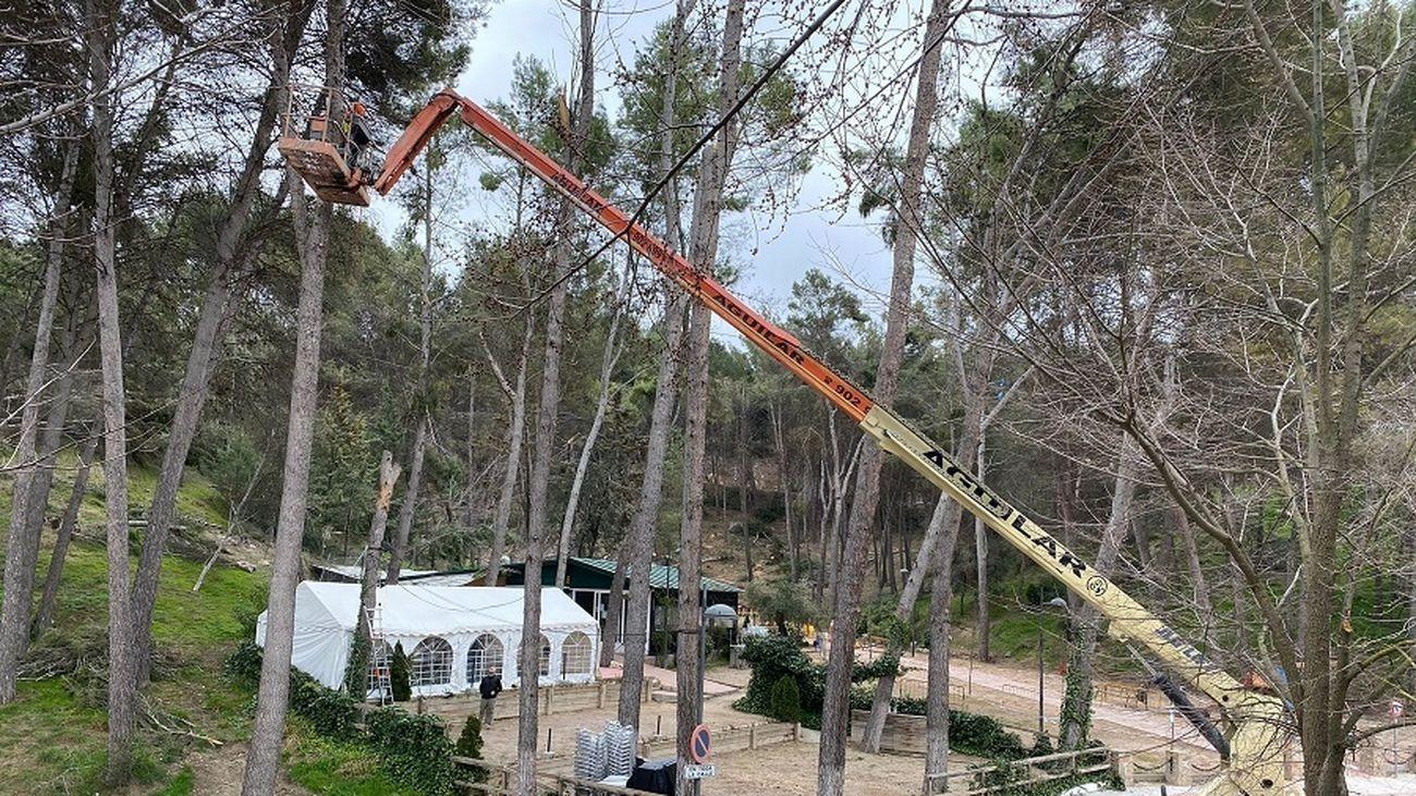 Plataforma elevadora trabajando en El Bosque de Morata de Tajuña