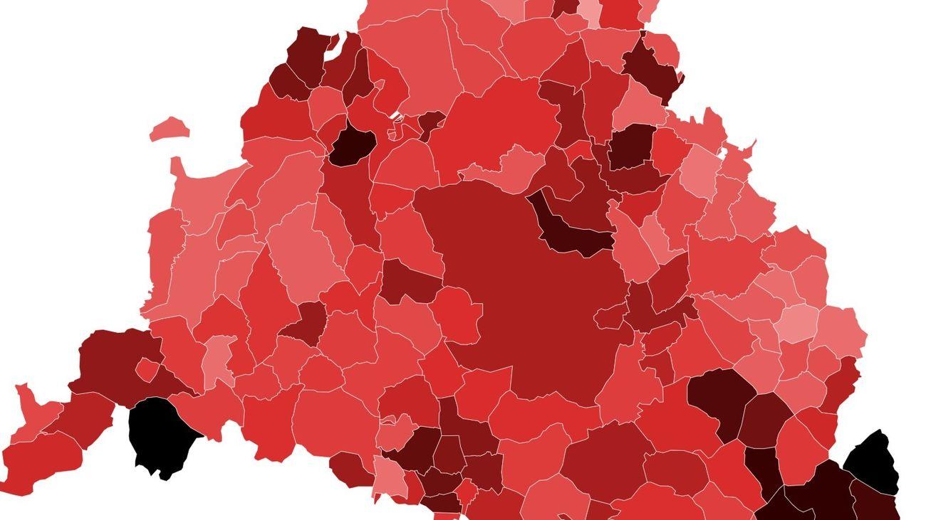 El coronavirus en los municipios de Madrid