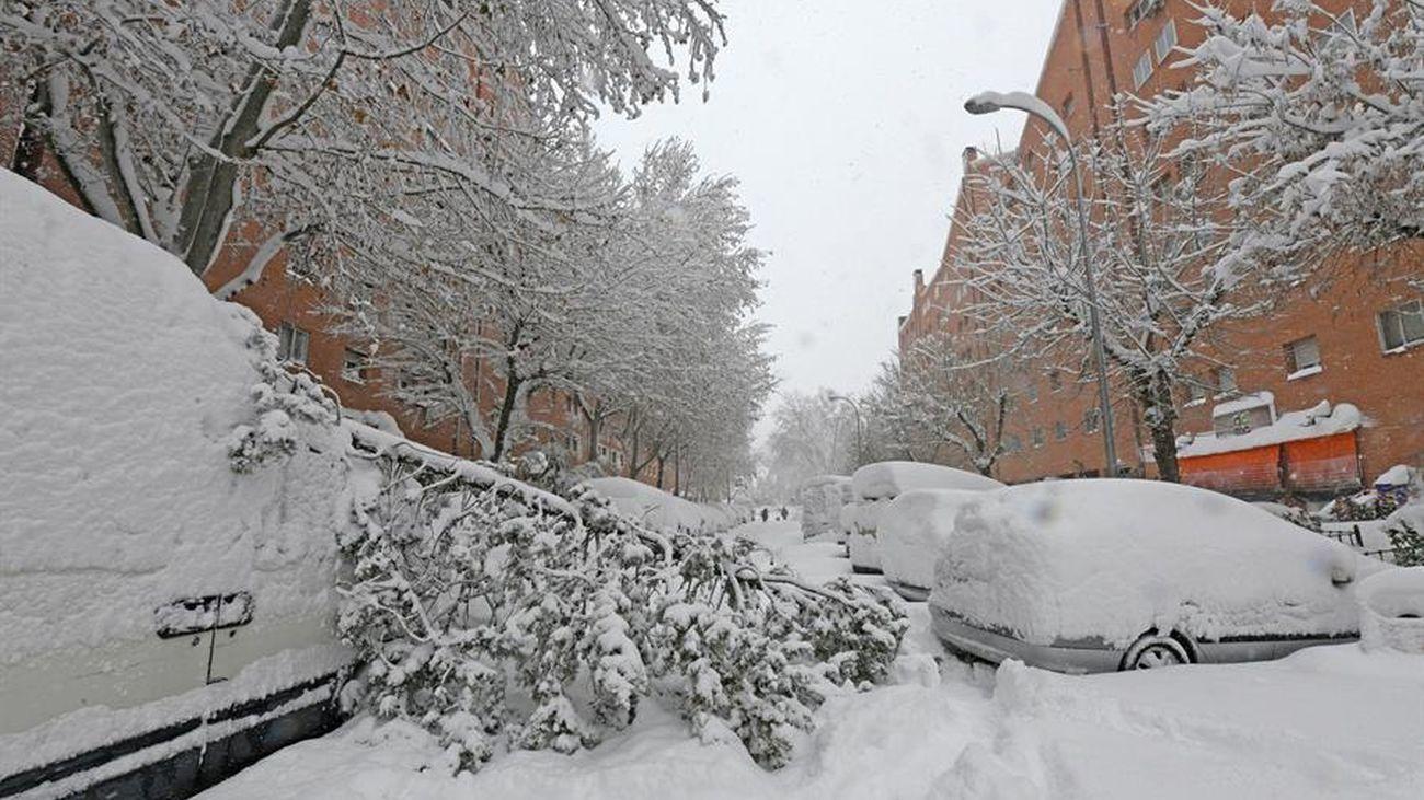 Estado de una calle de Madrid tras la nevada Filomena de este mes de enero