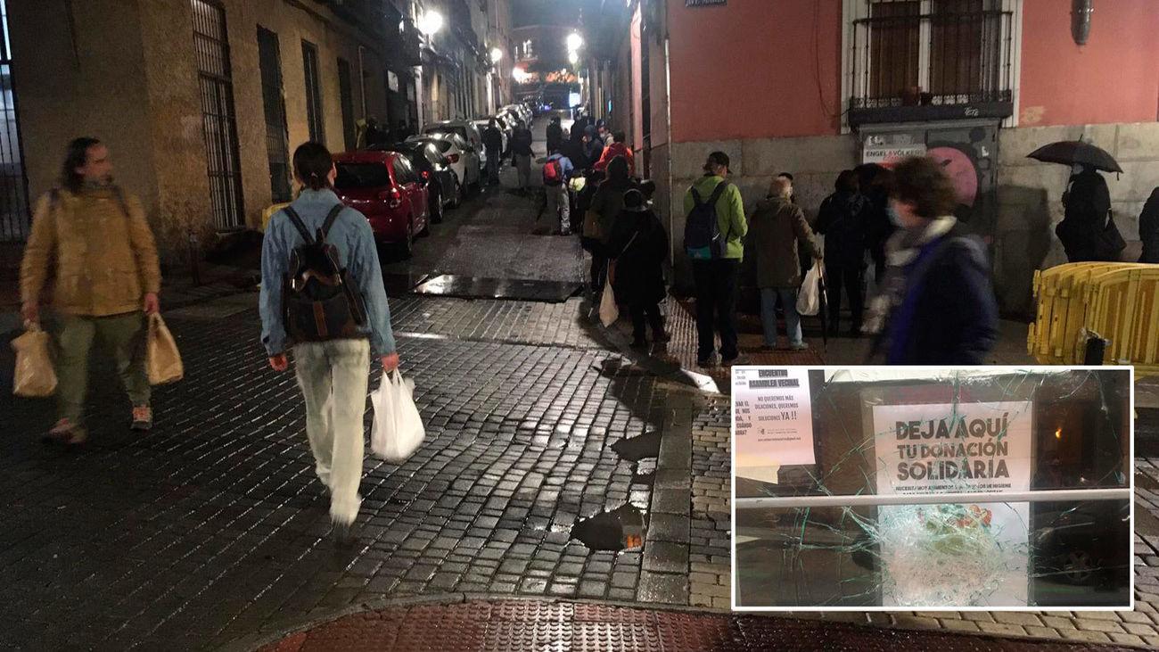 Vecinos de la calle Olmo, en Lavapiés, atemorizados por un punto de recogida de alimentos