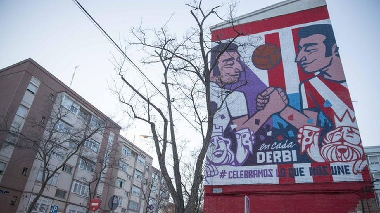 Madrid estrena un mural para conmemorar el derbi