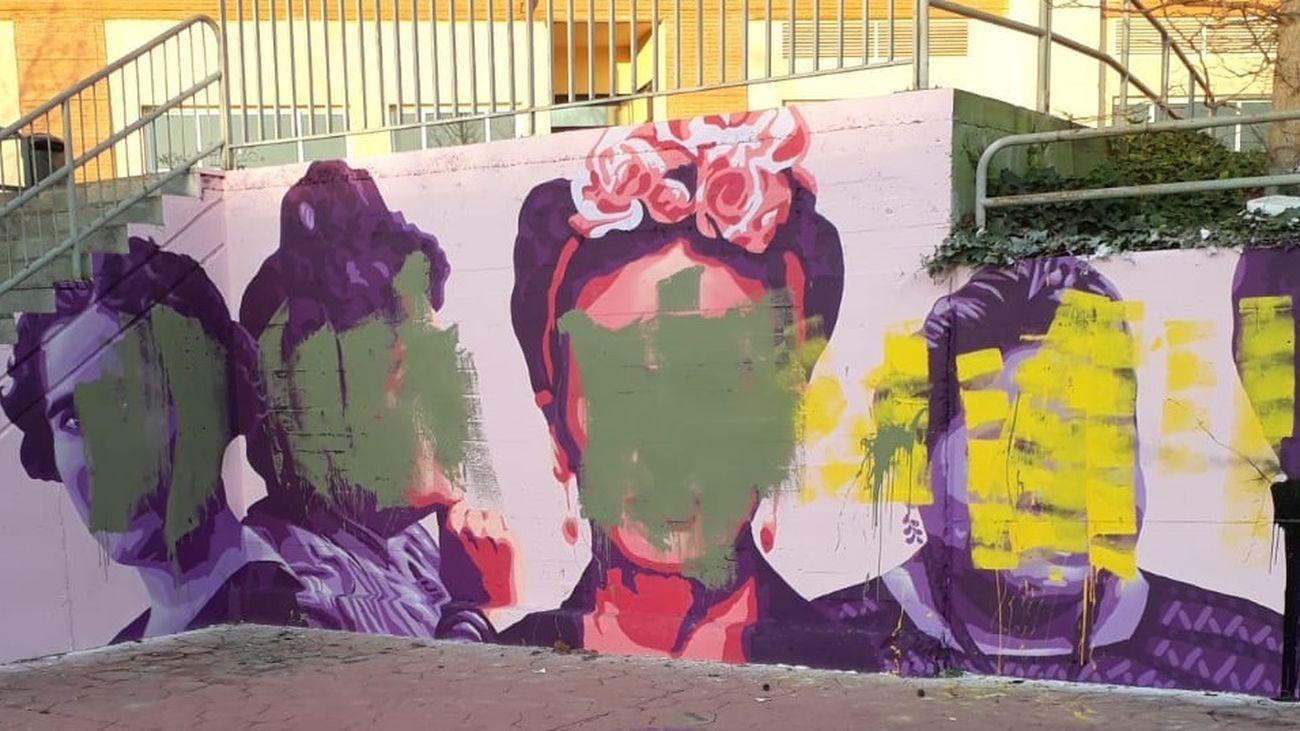 Mural vandalizado en Getafe