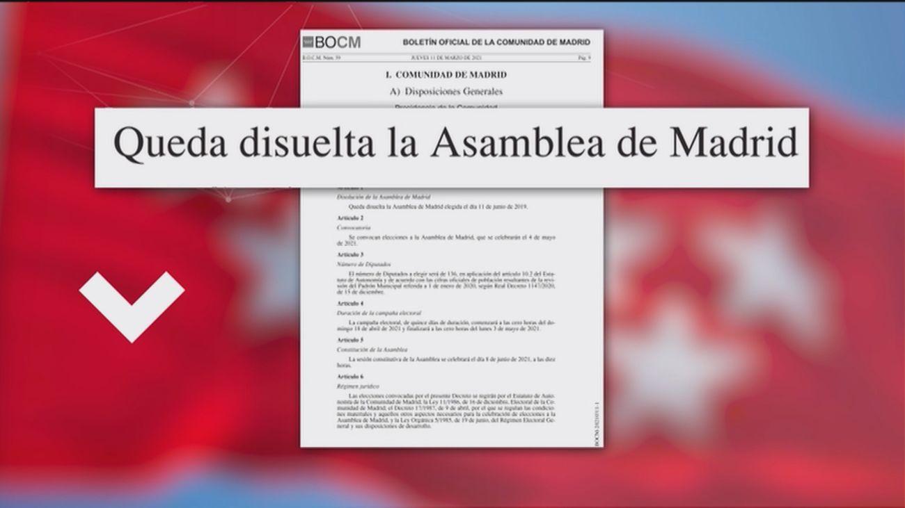 El Boletín Oficial de la CAM publica la disolución de la Asamblea y la convocatoria de elecciones