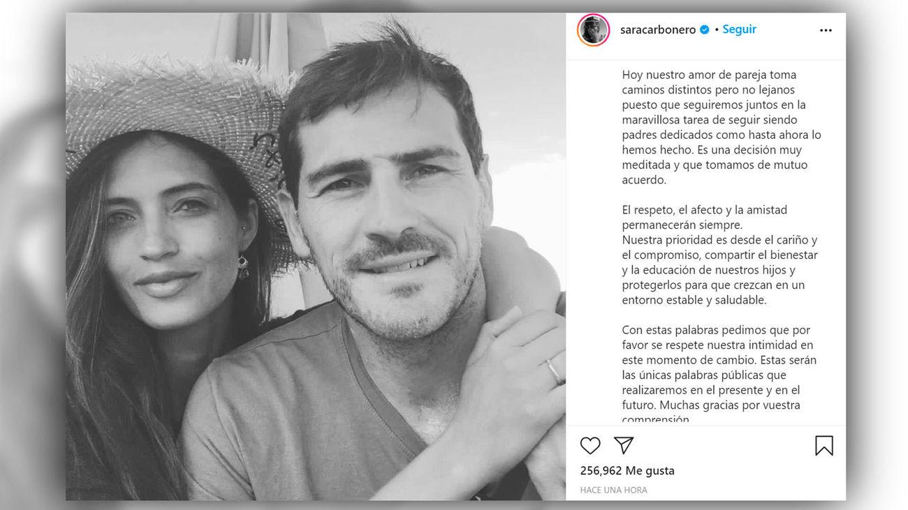 Iker Casillas y Sara Carbonero anuncian que se separan