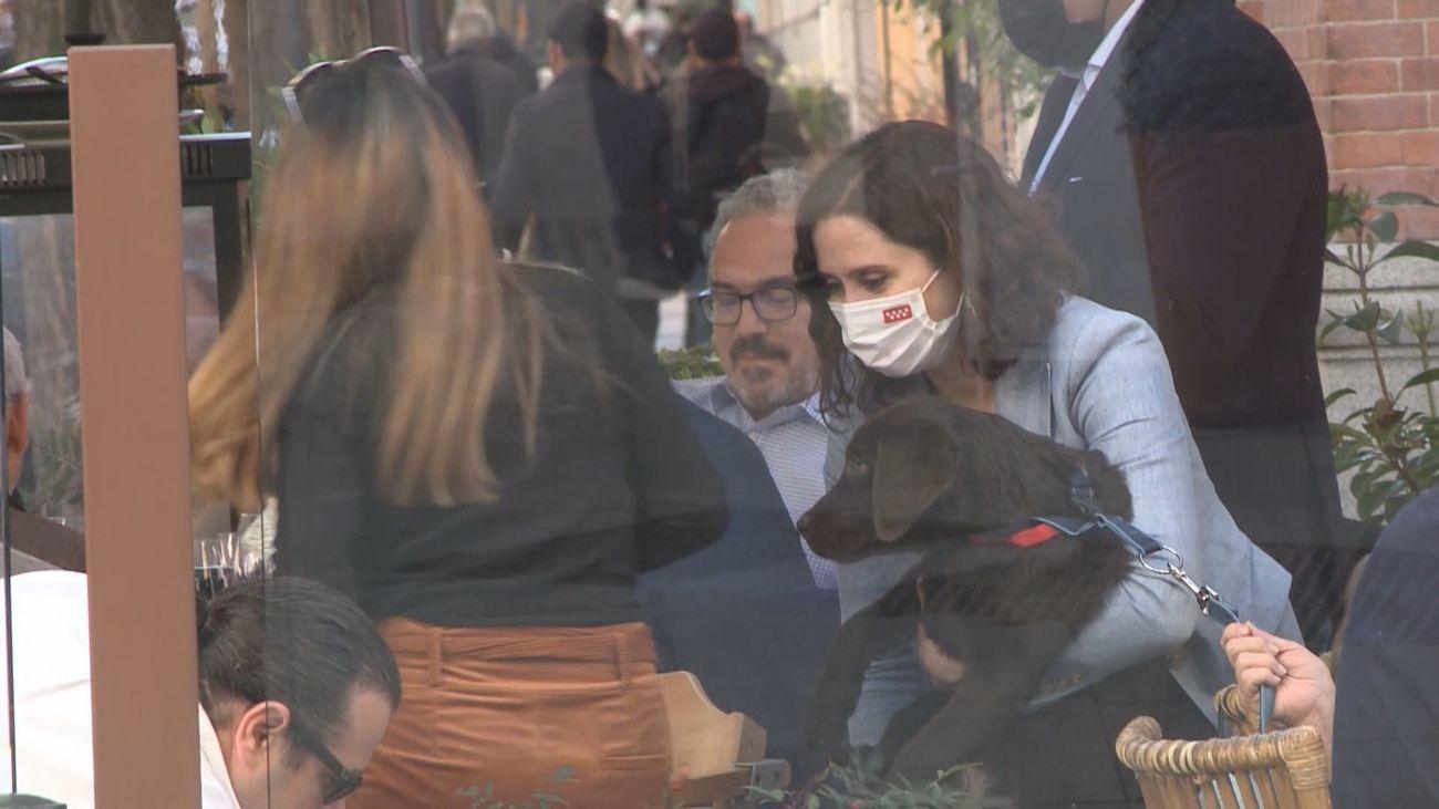 Ayusoen una terraza de Chamberí con su perro