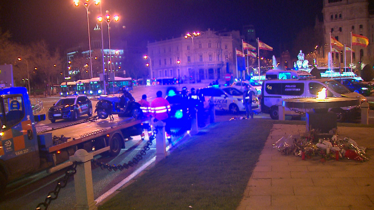 Accidente de moto en la Plaza de Cibeles