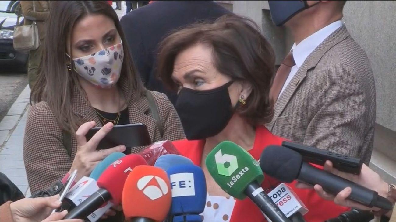 """Carmen Calvo a Unidas Podemos: """"Cumplir los acuerdos de gobierno es sentarnos a trabajar sobre los contenidos"""""""